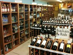 Our mahogany commercial wine racks in a store in East Hampton