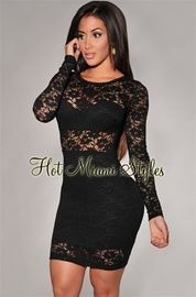 Black Lace Long Sleeves Dress