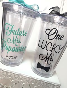 A personal favorite from my Etsy shop https://www.etsy.com/listing/468826761/bride-and-groom-tumbler-set-future-mrs