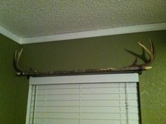 Homemade curtain rod: a long straight branch with antlers for end pieces. Curtains to come. #hunting #little boys room