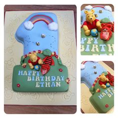 First birthday cake with Winnie the Pooh & tigger hand made sugar paste toppers x
