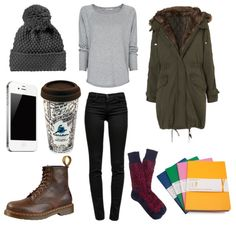 Mango knit sweater, $45 / Fur Lined Parka / J Brand mid rise jeans, $385 / GAP stitch hat / Men's Dr. Martens 8 Eye Boot, Brown, at Journeys Shoes / Fair Isle Camp Socks / Moleskine Volant Extra Large Ruled Notebook (Set of 2) (7.5 x 10),…
