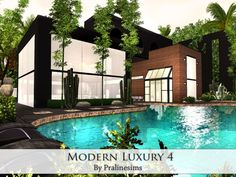 Modern Luxury 4 house by Pralinesims for Sims 3 Luxury Homes Exterior, Luxury Modern Homes, Modern Home Interior Design, Luxury Houses, Modern Interiors, House Plans Mansion, Luxury House Plans, Casas The Sims 3, Lotes The Sims 4
