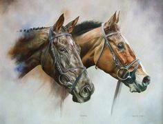 DENMAN and KAUTO STAR PRINT Limited Edition Horse Racing Art by Joanna Stribbling