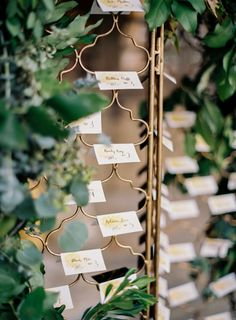 Escort Cards on Gate | photography by http://www.carriekingphoto.com/