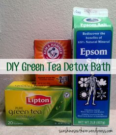 Green Tea Detox Bath: 1 cup Epsom salt, 1 cup baking soda and 2 bags green tea. (Click picture for optional ingredients)