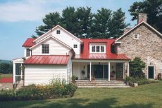 Anne Decker Architects | Selected Works | Renovations | Virginia Farmhouse - red metal roof