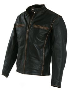 Biker Motorcycle Leather Jacket Vintage Aged Brown-BNWT in Clothes, Shoes & Accessories, Men's Clothing, Coats & Jackets   eBay
