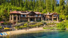 Inside a Stunning $27 Million Idaho Ranch – Robb Report Knotty Alder Doors, Waterfall Features, Lodge Style, Expensive Houses, Cozy Living, Lake View, Idaho, Great Rooms, Luxury Homes