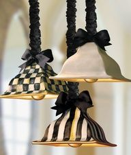pendant light fixtures by MacKenzie-Childs. I love these pendant lights! Luminaire Original, Diy Luminaire, Mackenzie Childs Inspired, Mckenzie And Childs, White Cottage, White Decor, White Lamps, Decoration, Painted Furniture