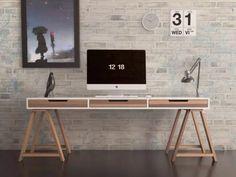 escritorio diseño minimalista con caballetes