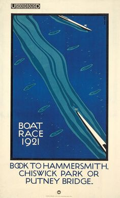 Charles Paine BOAT RACE lithograph in colours, 1921 London Transport poster Chiswick Park, Putney Bridge, London Transport Museum, Public Transport, London Poster, Nostalgia, Railway Posters, Art Deco Posters, London Underground