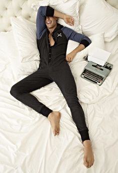 Hot guy in a onesie with a typewriter... I don't know what else could anyone ask for.