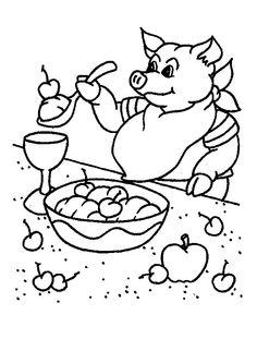 Il savoure son dessert après un bon déjeuner, dessin à colorier