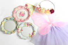 Must Have Fairy Party Supplies such as Fairy wings, tutus, flower crowns, mason jars and tea party plates Fun Party Themes, Kids Party Decorations, Birthday Party Themes, Party Ideas, Birthday Ideas, Fairy Tea Parties, Tea Party, Flower Fairies, Flower Crowns