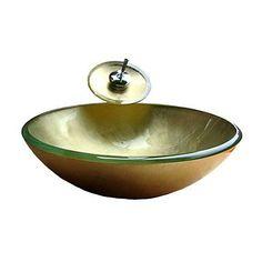 http://ift.tt/1Oc7mMS JJG Sieg runde goldene gehärtetem Glas Schiffes Spülbecken mit Wasserhahn Wasserfall Einbauring und Wasserablauf (0.917-vt4042) %%zunjaoli#