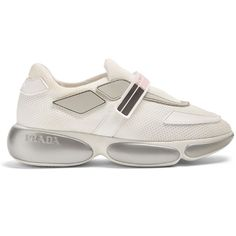 Prada Cloudbust low-top mesh trainers (9.325.345 IDR) ❤ liked on Polyvore featuring shoes, sneakers, pink white, velcro closure shoes, striped shoes, velcro strap sneakers, prada shoes and low profile sneakers Green Sneakers, Retro Sneakers, Retro Shoes, White Sneakers, White Shoes, Prada Shoes, Prada Sneakers, Sneakers Fashion Outfits, Shoes Sneakers