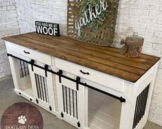 Double Dog Den w/Sliding Barn Doors & Storage Drawers Dog Crate Table, Wooden Dog Crate, Dog Crate Furniture, Diy Dog Crate, Furniture Plans, A Table, Furniture Dog Kennel, Farmhouse Furniture, Custom Dog Kennel