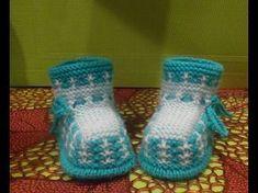 Вязание спицами пинетки #116 - YouTube Knit Baby Dress, Crochet Baby Shoes, Knit Or Crochet, Crochet Stitches, Baby Knitting Patterns, Baby Patterns, Knitted Booties, Tartan Pattern, Crochet Tablecloth