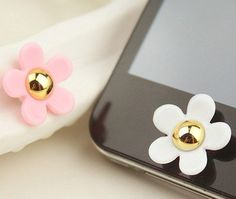 2PCs colorful rhinestone /Bling resin flower Frame iPhone Home Button Sticker for iPhone 4,4s,4g, 5 & iPad, Phone Charm