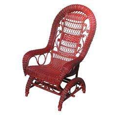 red wicker rocking chair