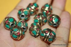 Nepalese Tibetan Handmade turquoise coral Beads 10 by goldenlines