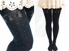 "Cute Rabbit with Dots Holiday Black Tights One Size hip: 33.5-38.5"" (85-98cm) height: 4'11""-5'34"" (140cm~163cm) (with no paper package)"