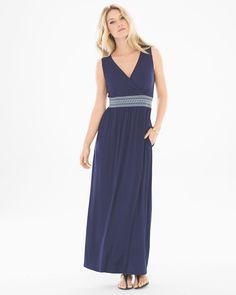 Soma Sleeveless Smocked Waist Maxi Dress Navy