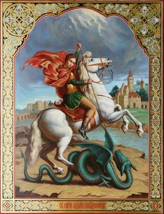 st george and the dragon icon Saint George And The Dragon, Dragon Icon, Christian Mysticism, Paint Icon, Fantasy Art Women, Dragon Artwork, Orthodox Icons, Horse Farms, Angel Art