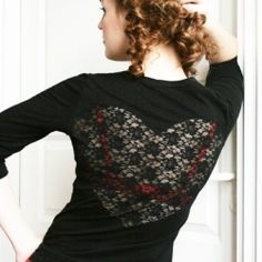 Lace Heart Sheer Back Tee. A cute and super easy way to add a trendy sheer lace heart on the back of a simple t-shirt. A quick DIY just in time for Valentine's Day! Diy Clothing, Clothing Patterns, Diy Fashion Projects, Lace Heart, Diy Ideas, Craft Ideas, Creative Ideas, Sewing Hacks, Sewing Projects
