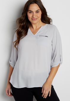 the perfect plus size blouse with zipper pocket (original price, $39.00) available at #Maurices