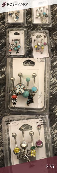 Lot of 17 new belly button rings 4 packs of fun belly button rings. Packages have never been opened. Jewelry