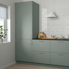 Green Kitchen Cupboards, Kitchen Ikea, Green Cabinets, Kitchen Cabinet Doors, New Kitchen, Ikea Kitchen Cabinets, Ikea Kitchens, Ikea Kitchen Remodel, Eclectic Kitchen
