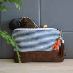Recycled pouch - natural leather and striped fabric from old jacket