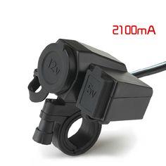 12V Waterproof Socket Motorbike Motorcycle Cigarette Lighter Adaptor 5V 2.1A USB Power Charger Socket