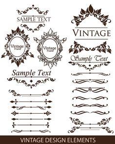 Vintage Design Elements 2, Digital Frame Clipart, Flourish Clip Art, Digital Wedding Clipart, Clip Art Frame - INSTANT DOWNLOAD
