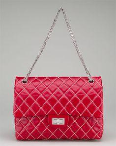 Chanel Red Glazed Calfskin Jumbo Bag