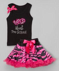 This Pink Zebra 'Wild Preschool' Tank & Pettiskirt - Toddler & Girls is perfect! #zulilyfinds