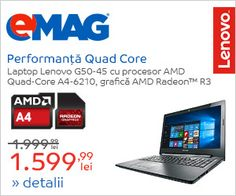 "Laptop Lenovo IdeaPad G50-45 cu procesor AMD A4-6210 1.8GHz, 15.6"", 4GB, 500GB + 8GB SSHD,... Ai Livrare Gratuita si Finantare in Rate pentru Laptop Lenovo IdeaPad G50-45 cu procesor AMD… EMAG.RO  ... Quad, Laptop, Electronics, Phone, Telephone, Laptops, Mobile Phones, Consumer Electronics, Quad Bike"