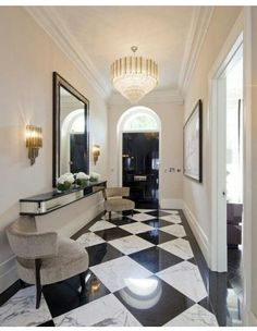 Marble Black And White Checkerboard