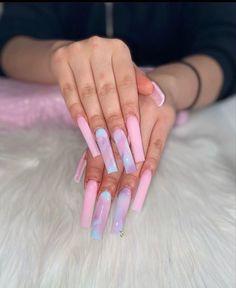 Acrylic Nails Coffin Pink, Long Square Acrylic Nails, Summer Acrylic Nails, Nail Swag, Drip Nails, Nagellack Design, Acylic Nails, Edgy Nails, Cute Acrylic Nail Designs