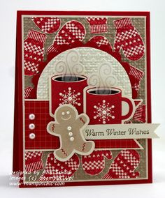 Ihttp://www.stampinchic.com/    It's Thursday, and time to play with the Pals at Pals Paper Arts!  This week, we have a trio of  warm and wonderful colors for you:  Riding Hood Red, Crumb Cake, and Very Vanilla.  I decided to ink up the Scentsational Season set and prepare two steaming cups of hot chocolate