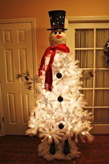DIY Christmas Décor! #frosty #christmastree #christmas #whitetree #snowman