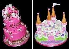 gâteau anniversaire original: château avec tourelles-cornets