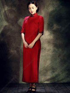 Women's Woolen Red Ankle-length Half-sleeve Winter Cheongsam Dress - USD $ 304.00