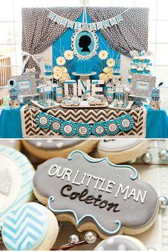 Decoración para 1er cumpleaños de un chico con estilo! Decoración de la mesa y detalles de bombonería y repostería personalizados.