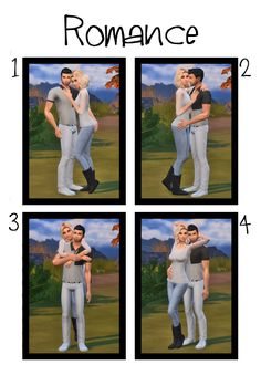 ♥ Romance ♥• Total 4 couple poses for a female & male sim, in-game • You need Andrews Pose Player & Teleport Any Sim for this pose to work • Pose Player instructions - x2 statues in the same place in the desired location, then teleport sims, finally...