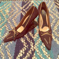 "Carlos Santana heels 3"" brown suede heels with tan leather accents. Size 9. Rarely worn. Carlos Santana Shoes Heels"