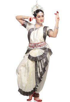 Light Cream Art Silk Indian Classical Odissi Readymade Dance Costume