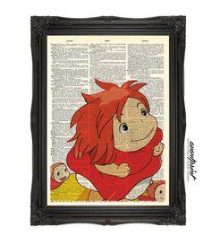"Playroom.  ""Haaaam!""  Ponyo And Her Sisters Studio Ghibli Original Print on Unframed Upcycled Bookpage"